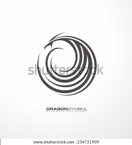 Dragon symbol unique vector concept. Creative abstract logo design template. Dragon tattoo graphic element. - stock vector