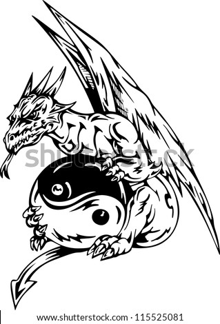 Dragon tattoo with yin-yang sign. EPS vector illustration. - stock vector