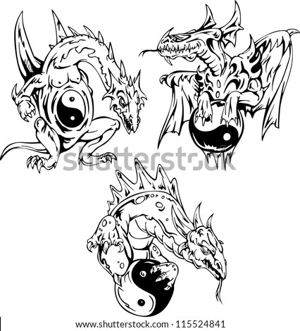 Dragon tattoos with yin-yang signs. Set of vector illustrations. - stock vector