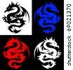 Dragon, tribal tattoo - stock vector