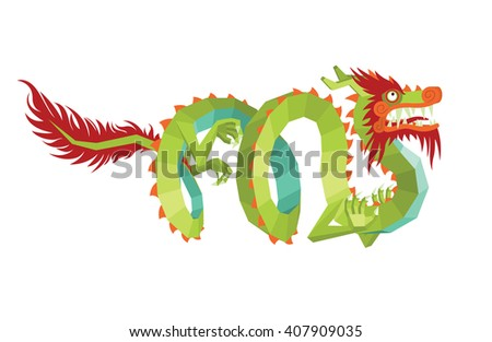 Dragon Vector. Legendary Creature in Chinese Mythology - Colorful Asian Dragon in Mixed Style Isolated on a White Background. Vector Illustration of Modern Polygonal Chinese Dragon for Your Design. - stock vector