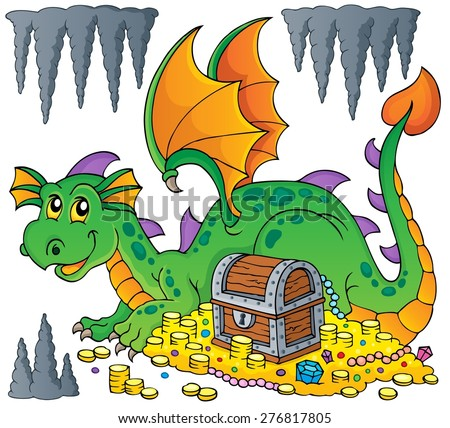 Dragon with treasure theme image 1 - eps10 vector illustration.