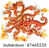 Dragon with twelve heads, vector illustration - stock photo