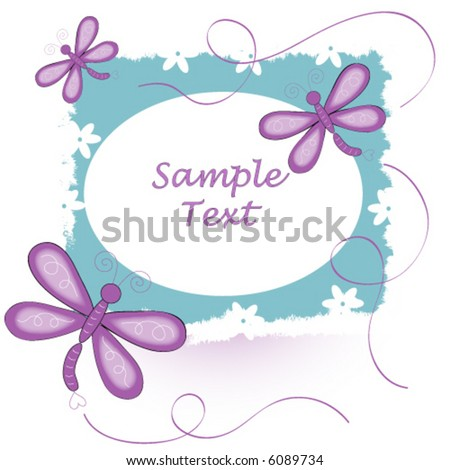 Dragonfly and flower background vector.