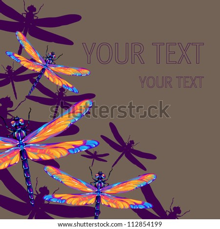dragonfly seamless pattern - stock vector