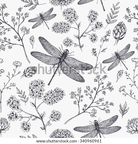 Dragonfly seamless pattern. Dragonfly background. Vector illustration - stock vector