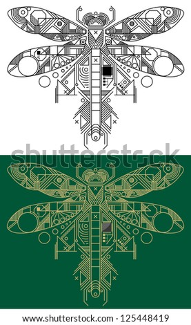 Dragonfly with computer motherboard elements for technology concept. Jpeg version also available in gallery - stock vector