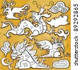Dragons, Chinese New Year 2012. Vector set of sketchy, doodle dragons and decorative design elements. Little fairy  dragon, cheerful Chinese oriental dragon, fantasy dragon, medieval emblem dragon - stock vector