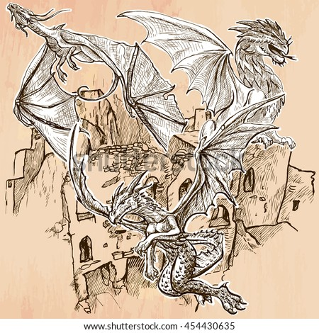 DRAGONS flying upon the old Castle, Ruins. Freehand sketching, line drawing. An hand drawn vector illustration. Colored background is isolated. Line drawing technique. Vector is easy editable. - stock vector