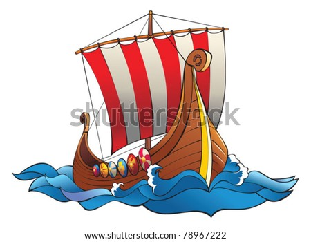 Drakkar (vikings battle longship) in the ocean waves with row of shields and striped sail, vector illustration - stock vector