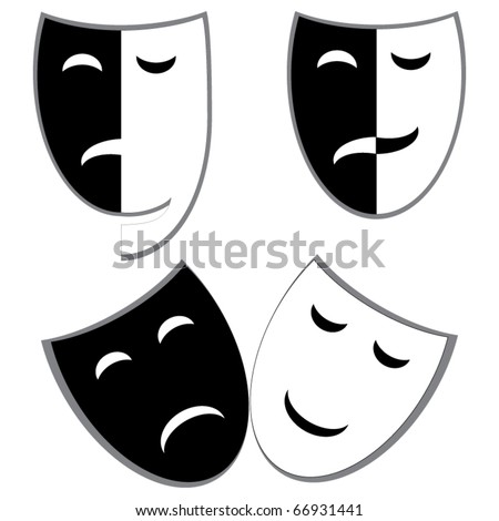 Drama and comedy masks vector - stock vector