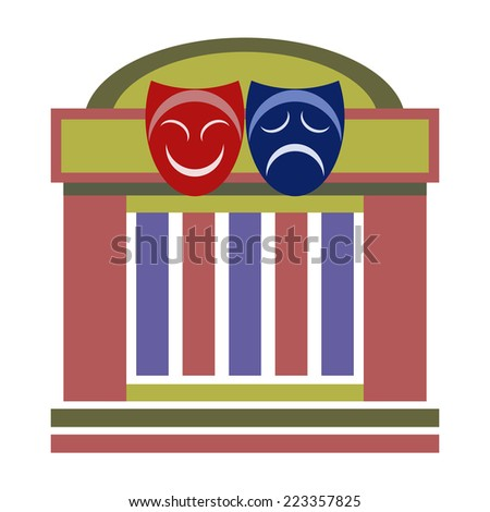 Drama theater, comedy and tragedy theatrical masks - stock vector