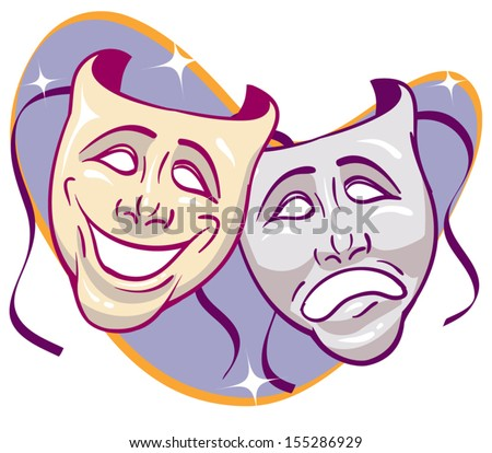 Drama theater masks - stock vector