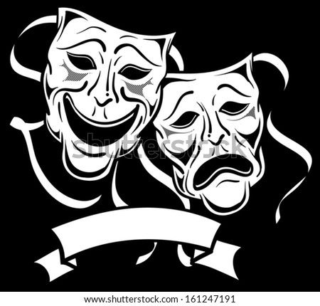 Drama theatre masks - stock vector