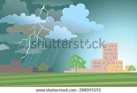Dramatic landscape with approaching a storm and a rain on a urban buildings