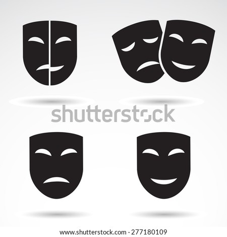 Dramatical masks - icons isolated on white background. Vector art. - stock vector