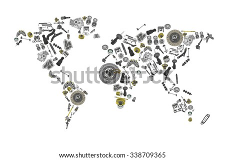 Draw a map of the world made up of spare parts. Spare parts for shop, aftermarket, OEM. Map with spare parts. New spare parts for shop. Many auto spare parts for map. Isolated auto spare parts. Map - stock vector