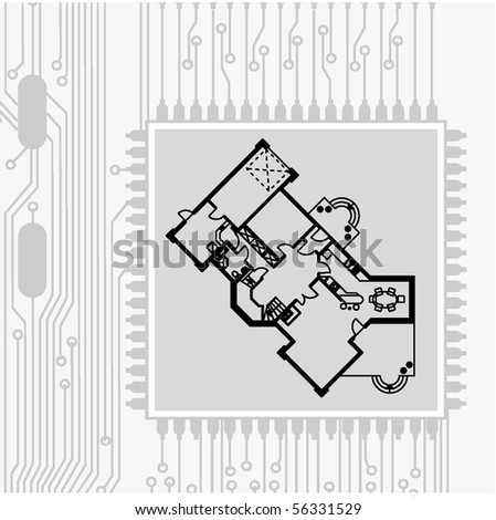 draw of electronic circuit board and architectural blueprint - stock vector