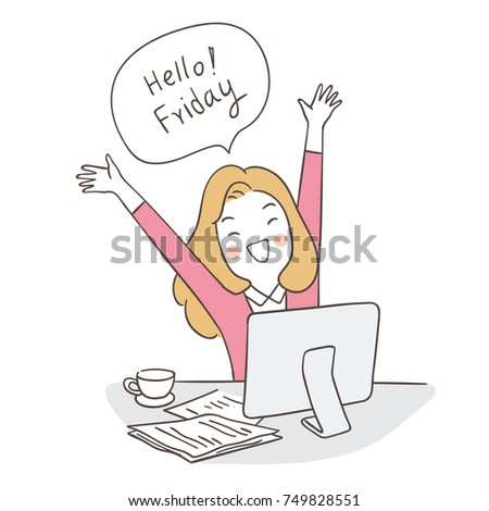 Superieur Draw Vector Illustration Character Happy Business Woman Saying Hello Friday  In Speech Bubble.Doodle Cartoon