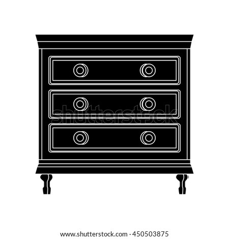 drawer chest front view flat icon silhouette illustration object - stock vector