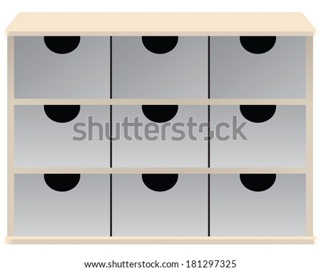 Drawer organizer for small parts drawers. Vector illustration. - stock vector