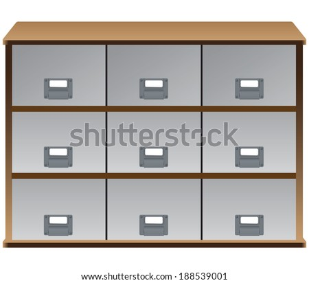 Drawer organizer with drawers and labels on the handles. Vector illustration.