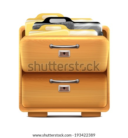 Drawer with Binders - stock vector