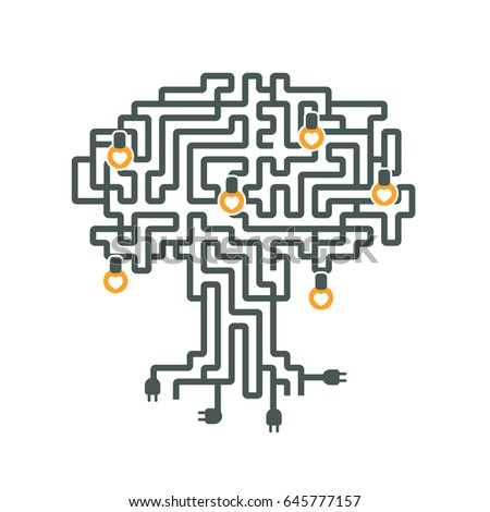 Drawing Maze Electrical Wires Plug Lamp Stock Vector 645777157 ...