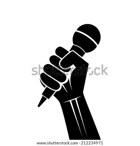 drawing a microphone in a hand - stock vector