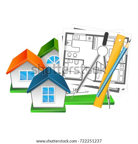 Drawing design house tool drawing stock vector 722251237 drawing and design of the house with a tool for drawing ccuart Gallery