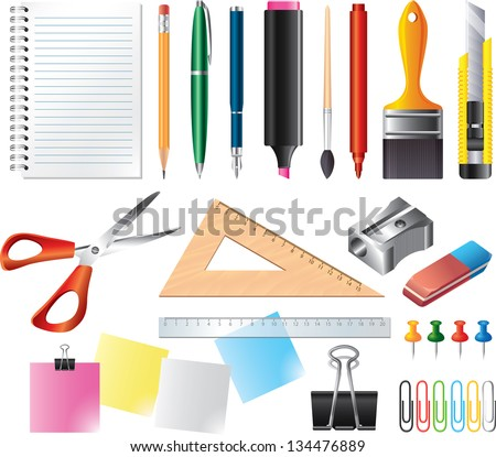 Drawing and office tools photo-realistic vector set - stock vector