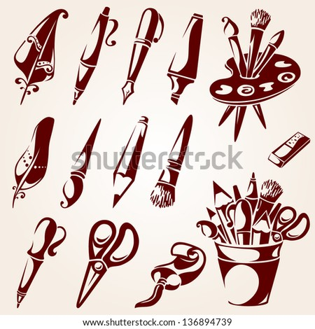 Drawing and painting tools - stock vector