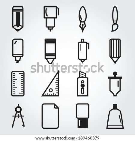Drawing and painting tools icons - stock vector