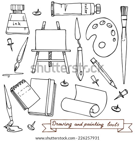 Drawing and painting tools. Vector illustration with art materials and tools for drawing and painting. Hand drawn design elements. - stock vector