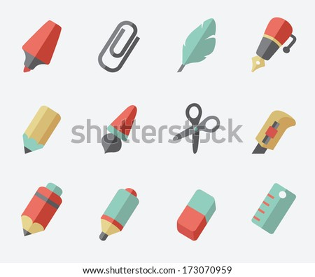 Drawing and Writing tools icon set - stock vector
