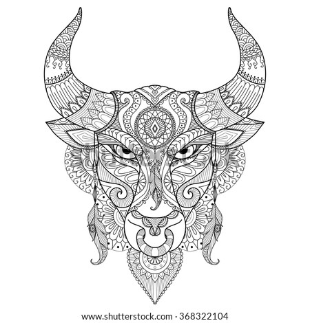Drawing Angry Bull For Coloring BooktattoologoT Shirt Design And Other