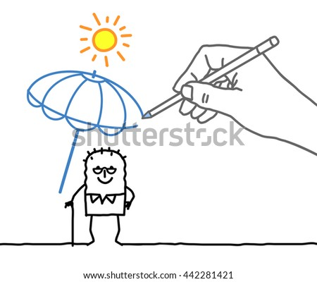 Drawing big hand and  character - heat protection - stock vector