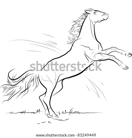 drawing black and white horse jump, vector illustration - stock vector