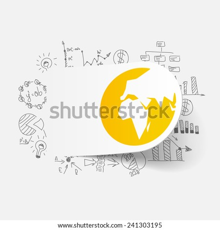 Drawing business formulas: globe - stock vector