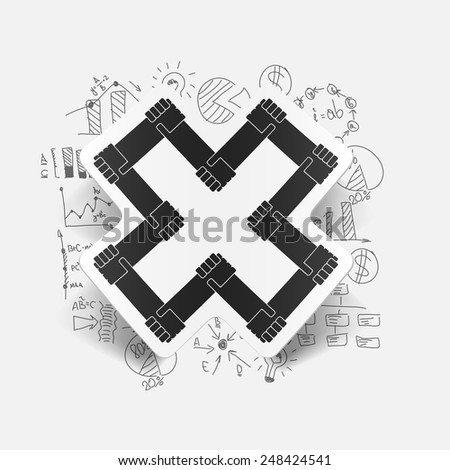 Drawing business formulas: handshake - stock vector
