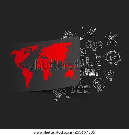 Drawing business formulas: map - stock vector