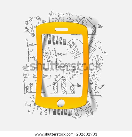 Drawing business formulas: mobile - stock vector