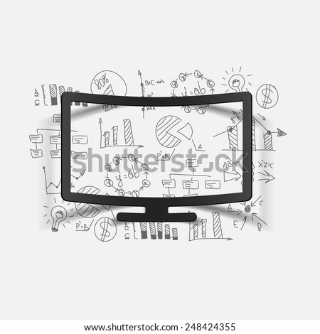 Drawing business formulas: monitor - stock vector