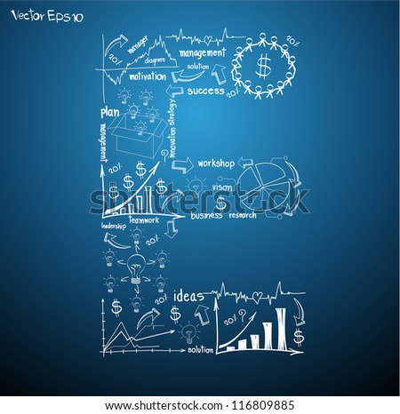 Drawing business plan concept diagrams of alphabet letters ( E ) Vector template design - stock vector