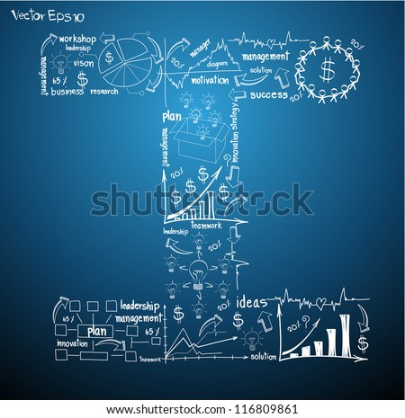 Drawing business plan concept diagrams of alphabet letters ( I ) Vector template design