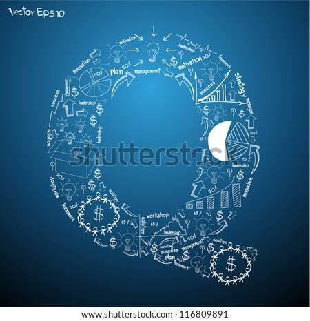 Drawing business plan concept diagrams of alphabet letters ( Q ) Vector template design - stock vector
