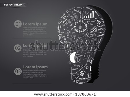 Drawing business strategy plan concept idea in creative light bulb, Vector illustration Modern template Design - stock vector