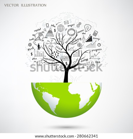 Drawing charts and graphs business strategy plan concept idea on a tree growing on the globe. The business concept. Vector illustration modern design template.