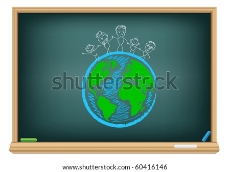 Drawing children and earth by a chalk on the classroom blackboard - stock vector