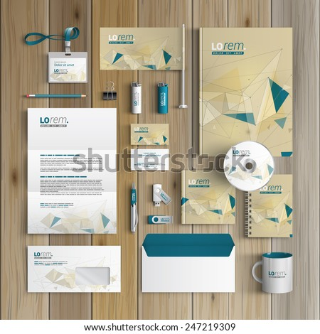 Drawing corporate identity template design with figures and schemes. Business stationery - stock vector